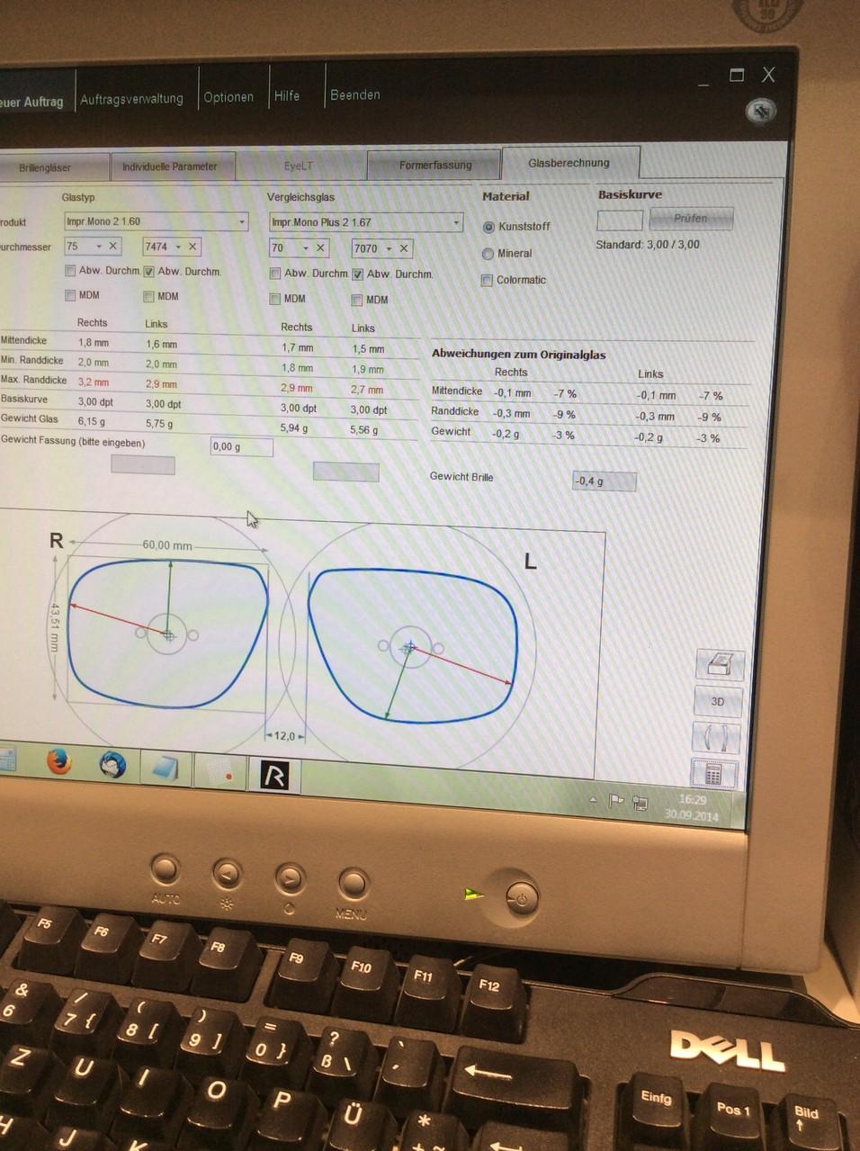 Berechnung der optimalen Brillenglasdicken und EDV-Bestellung der Brillengläser