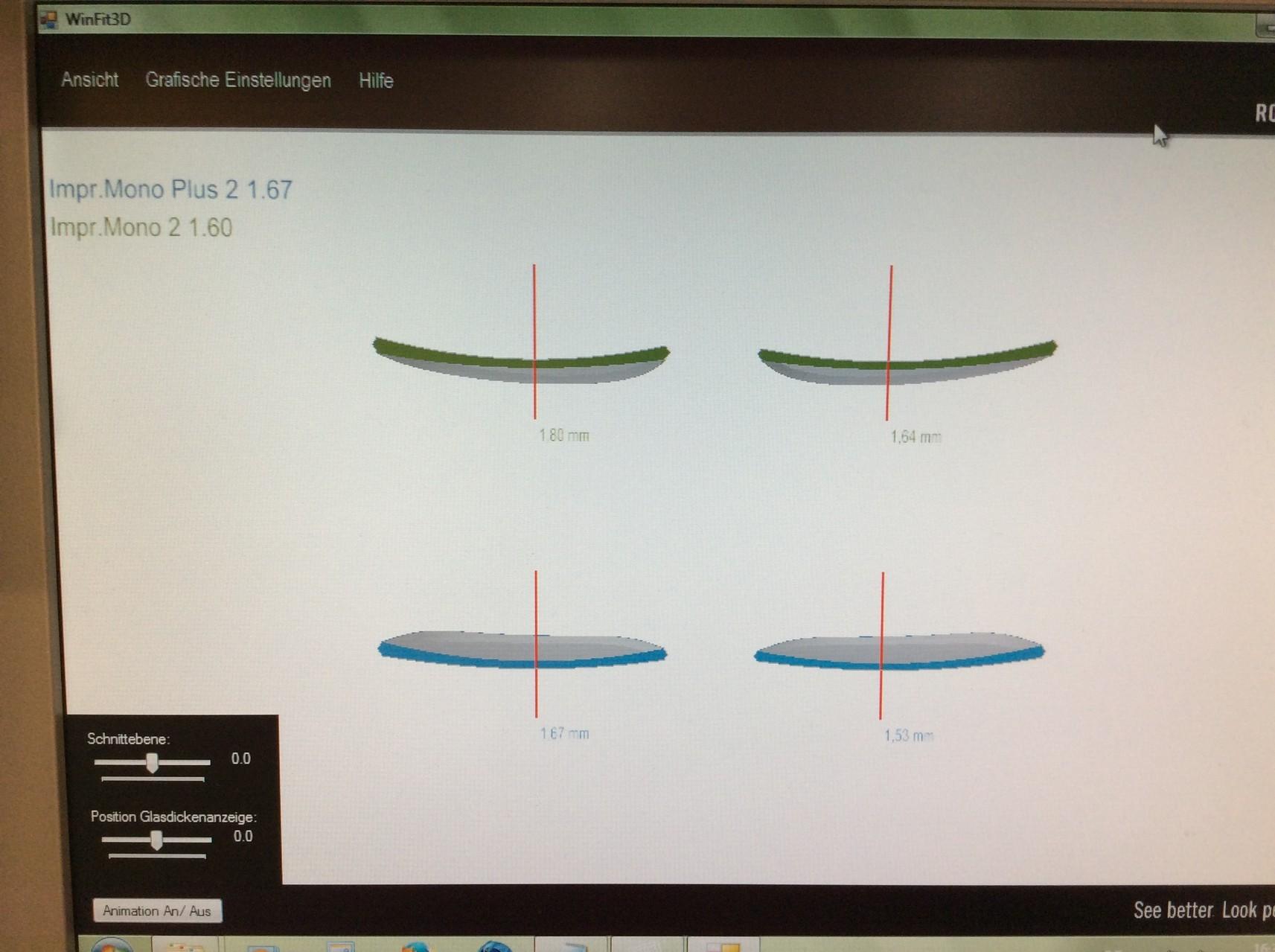Grafische Darstellung der Brillenglasdicken