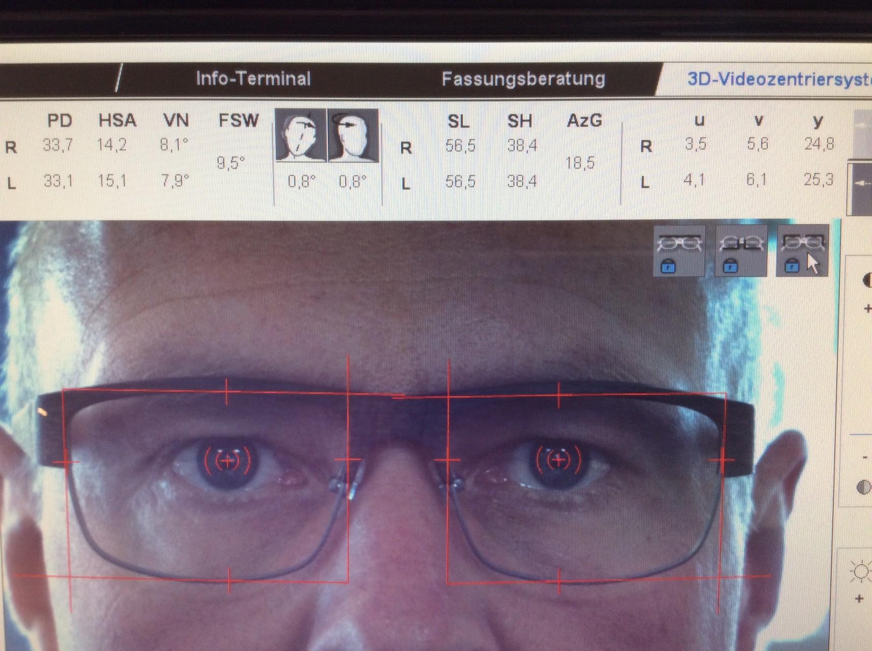 Auswertung der Zentrierdaten mit dem Digitalen Brillenanpassgerät ImpressionIST