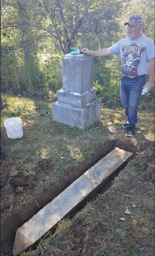 Troy Helton unearthed the obelisk for this monument. Dave Masterson is cleaning with D2. The family requested the obelisk be remounted. Plans underway. Photo courtesy of Tina Mitchell Boutall. 14 Oct 2017