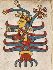 """Une Déesse-Mère sous forme d'arbre nourrit l'humanité, selon le Codex  mexicain Fejervary-Mayer, planche 28. L'arbre est le grand symbole des divinités féminines et figure en Mésopotamie une """"Etoile Sombre """"."""