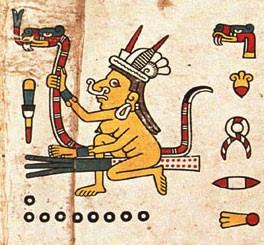 """"""" Sorcière """" mexicaine tirée du Codex Fejervary-Mayer, planche 17. Le serpent (""""entre ses cuisses """") est son symbole de prédilection…"""