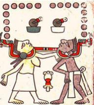 L'humanité est sous l'emprise millénaire des reptiles - Codex mexicain Laud, planche 34.