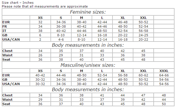 Sweater Chalet Size Chart