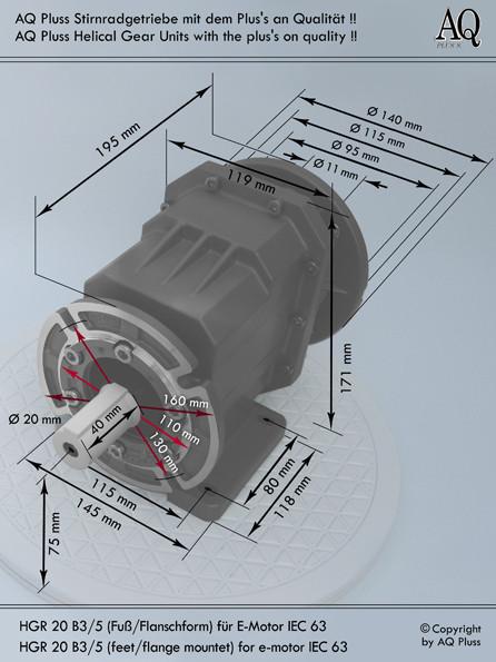 Getriebe » Stirnradgetriebe » Stirnradgetriebe ohne Motor » B3/5 Fuß/Flanschform