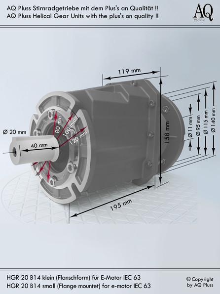 Getriebe » Stirnradgetriebe » Stirnradgetriebe ohne Motor » B14 k Flanschausführung