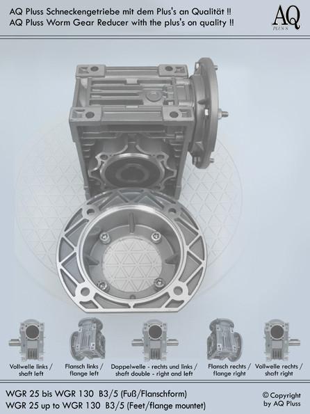 Getriebe » Schneckengetriebe » Schneckengetriebe ohne Motor » B3 Fußform