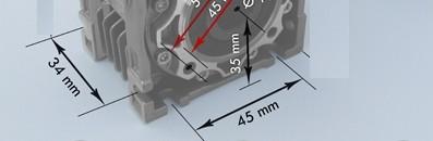 Fuß-Schneckengetriebe, das Bild Fußmaßeauszug B3 ohne Motoror
