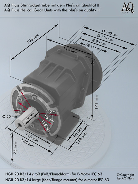 Getriebe » Stirnradgetriebe » Stirnradgetriebe ohne Motor » B3/14 g Fuß/Flanschausführung