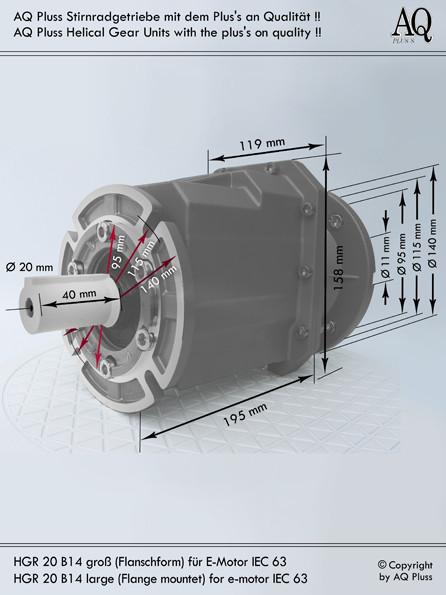 Getriebe » Stirnradgetriebe » Stirnradgetriebe ohne Motor » B14 g Flanschausführung