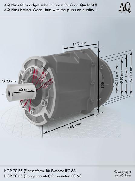 Getriebe » Stirnradgetriebe » Stirnradgetriebe ohne Motor » B5 Flanschform
