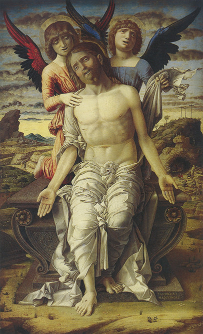 Mantegna - Cristo sul sarcofago sorretto da due angeli