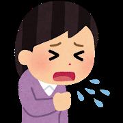 咳をする女性、繰り返す発熱、のどの痛み