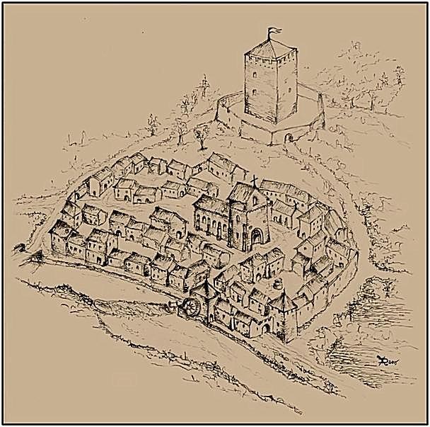 Le bourg castral de Fontenoy-le-Chastel - Reconstittution (c) Xavier Durupt