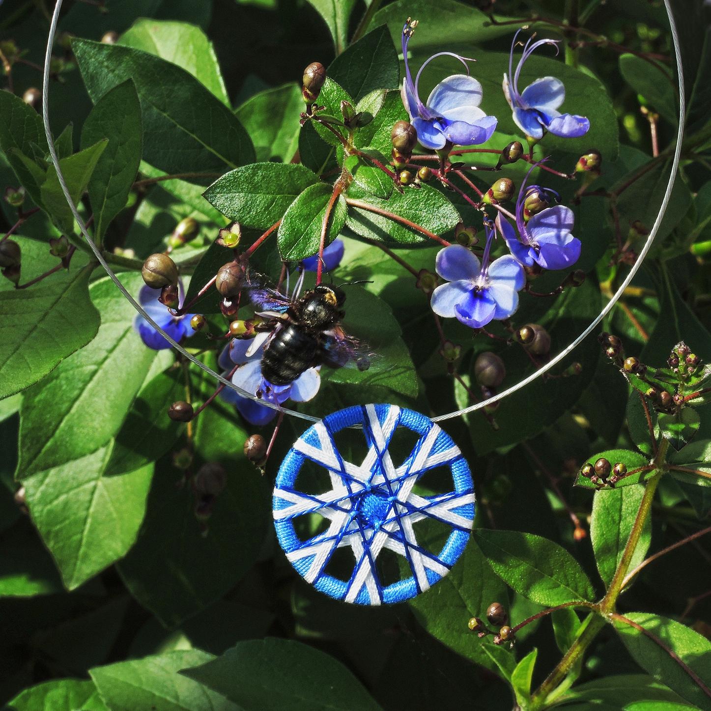 Nr. 51  Zwirnknopf-Anhänger | Ø 44 mm | Material: Baumwolle, Aluminium