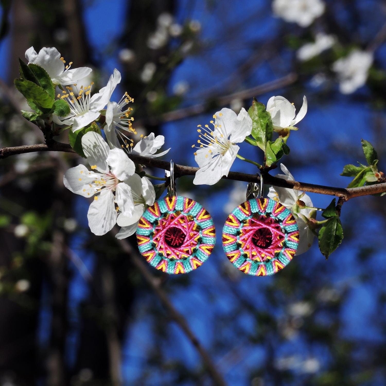 Nr. 40  Paar Zwirnknopf-Ohrringe | Ø 20 mm | Material: Baumwolle, Aluminium, Klappbrisur silberfarben