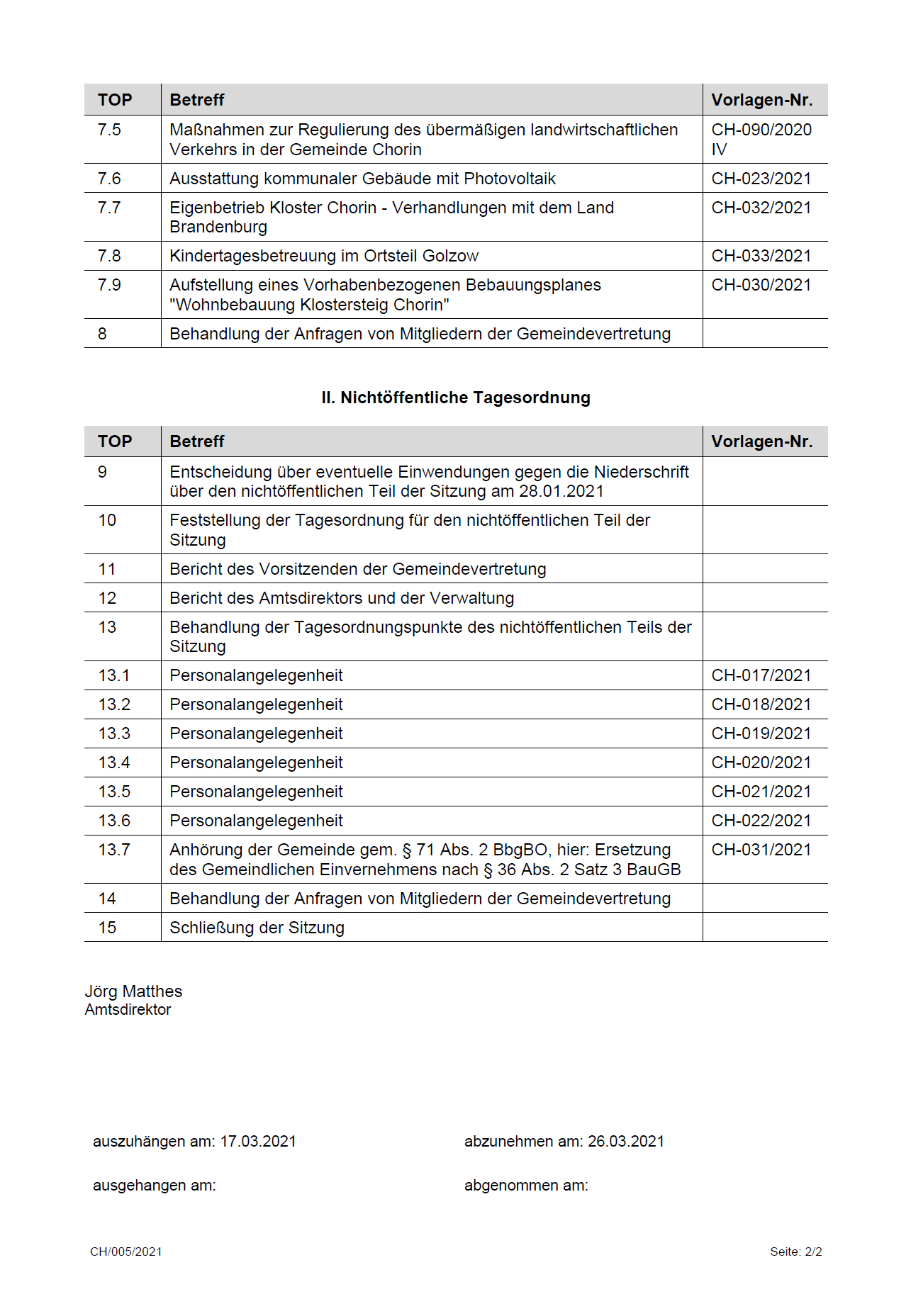Tagesordnung Amt BCO 2021-03-25