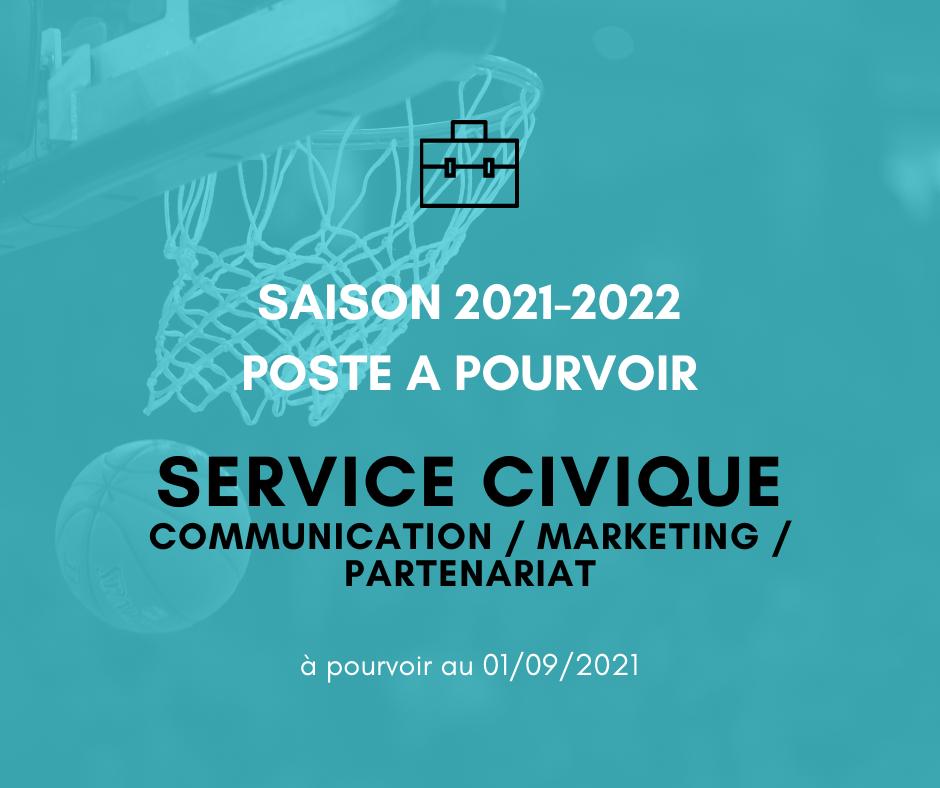 Poste à pourvoir : Service civique Communication / Marketing / Partenariat