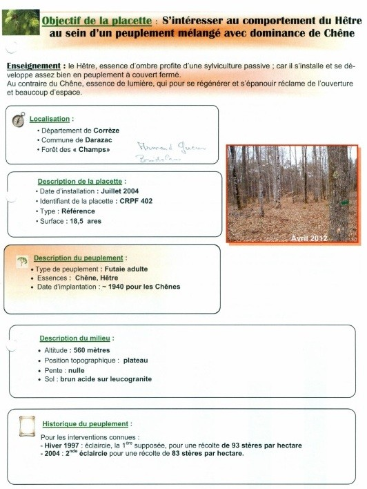 Document de l'AFOXA  (Association des Forêts de Xaintrie)