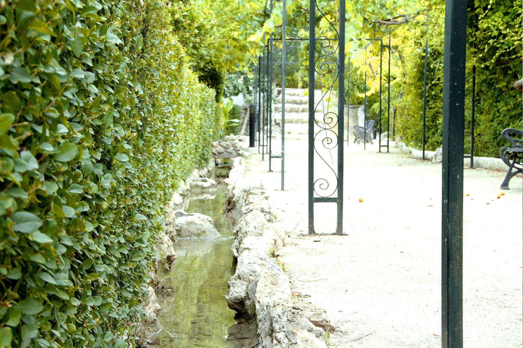 Riachuelos y acequias naturales en las zonas ajardinadas exteriores
