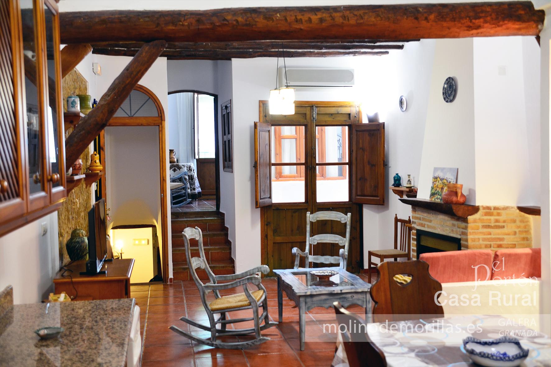 Salón y cocina en planta