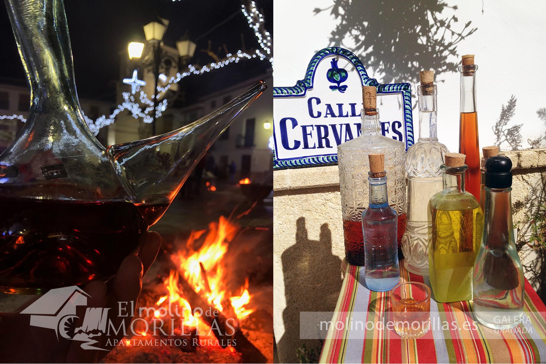 Vino y Licores tradicionales de Galera: mistela, churripampli, gloria, licor café, orujo de uva