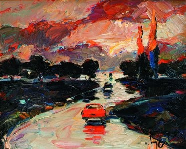 """Red car"". Художник Тамаз Хуцишвили"