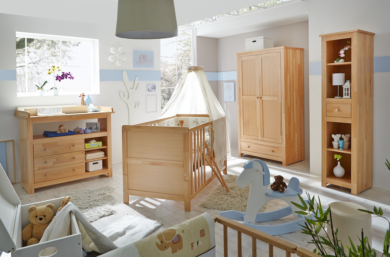 4 teiliges babyzimmer buche massiv lackiert www. Black Bedroom Furniture Sets. Home Design Ideas