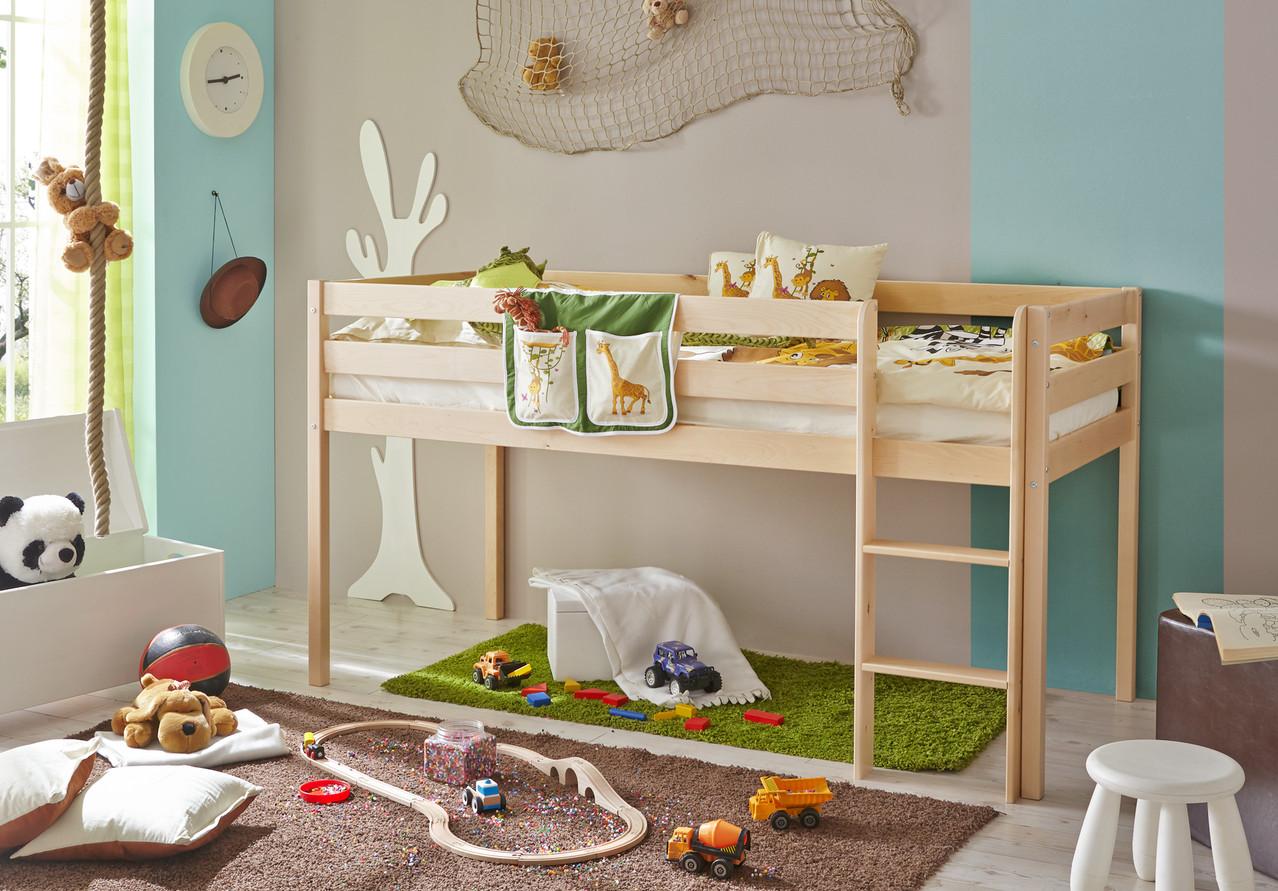hochbett rutschbett birke natur lackiert www. Black Bedroom Furniture Sets. Home Design Ideas