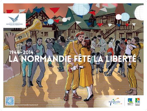 L'affiche officielle du 70ème anniversaire - Des soldats anglais dans le village Guillaume le Conquérant à Dives-sur-mer