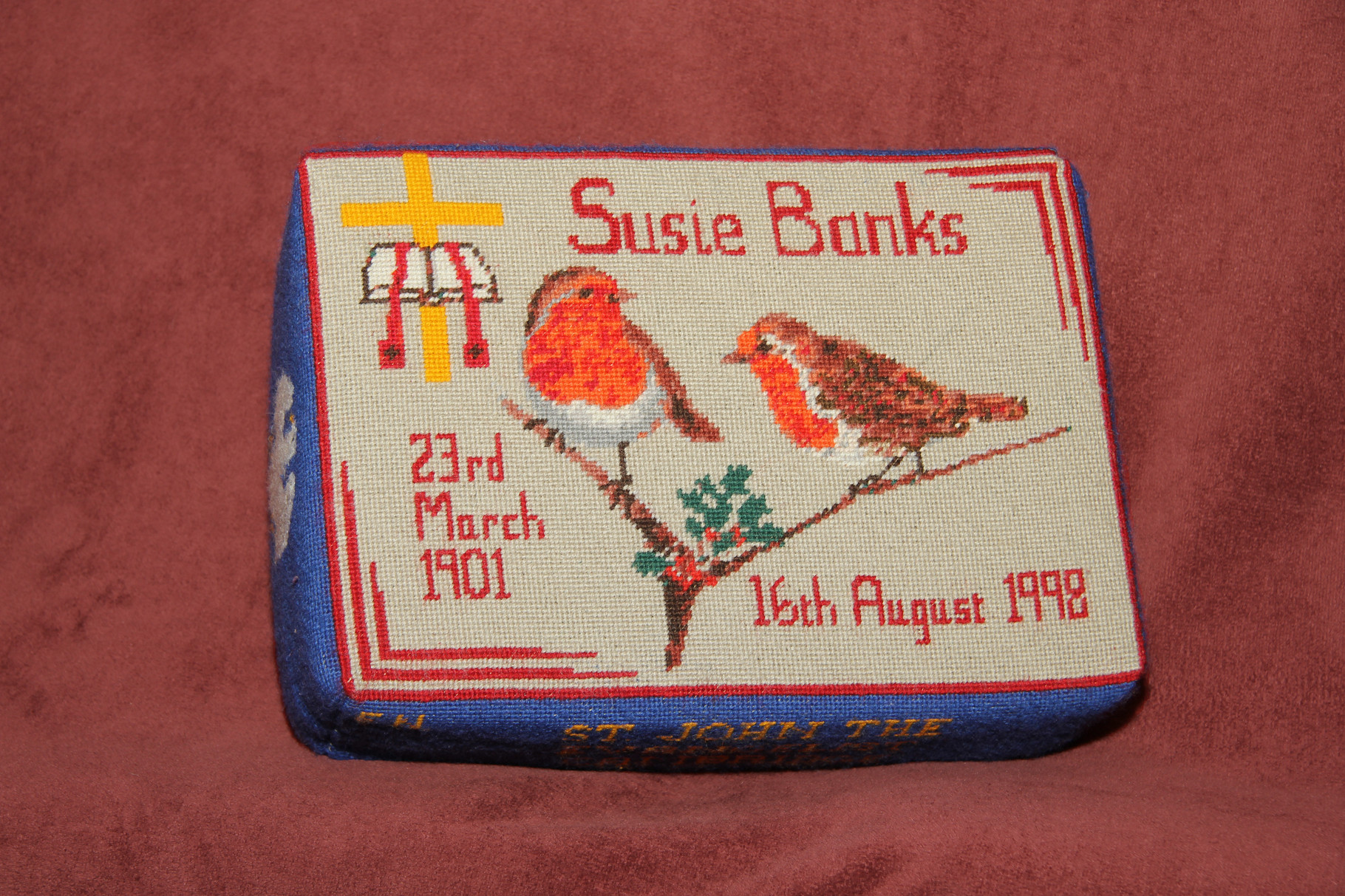 48. Robins/ Cross and Bible in memory of Susie Banks (1901-1998) donated  by Eddie Neech and worked  by Joy Barker