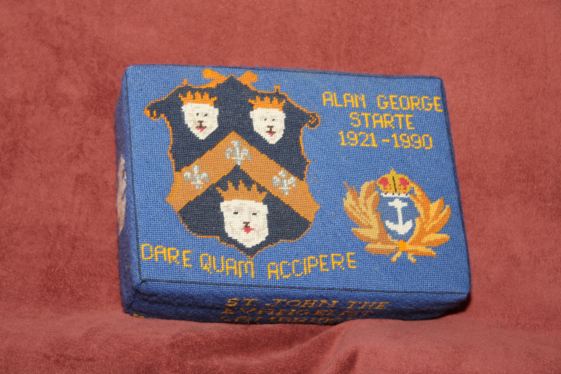 28.  Shield/Crown/Anchor in memory of Alan George Starte (1921-1990) – donated by Marion Starte and worked by  June Darmody and Bridget Garton