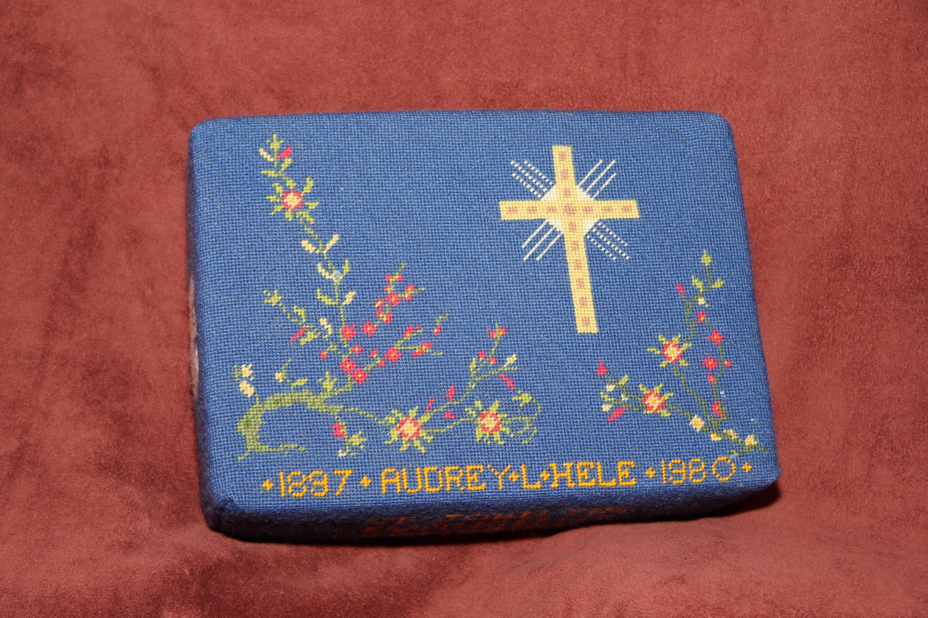 35.  Cross with floral decorations in memory of Audrey L. Hele (1887—1980) – donated and worked by Jill Salkeld-Green
