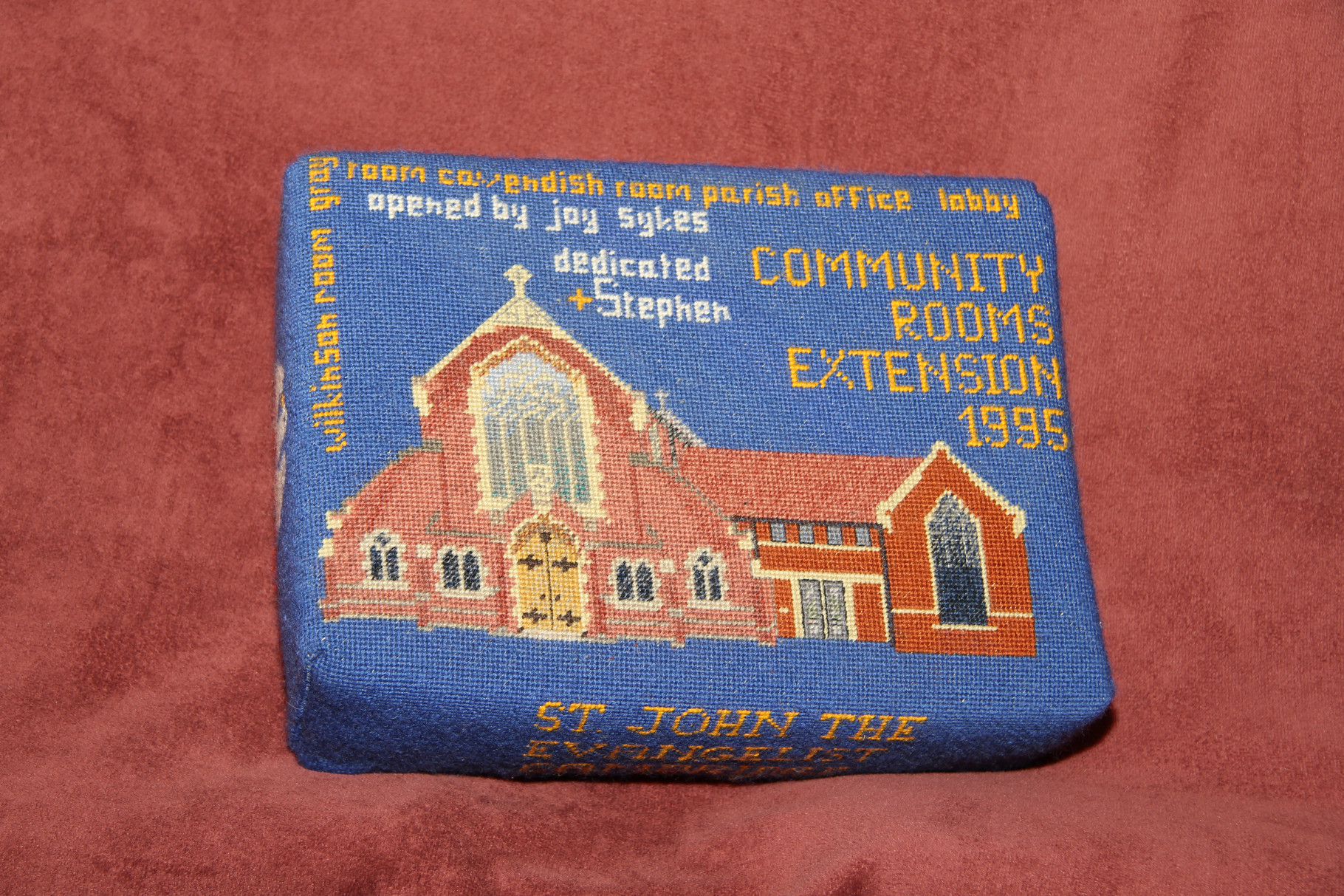 50. Community Rooms Extension 1995  Opening and dedication by Joy and Bishop Stephen Sykes – donated and worked by   Bridget Garton