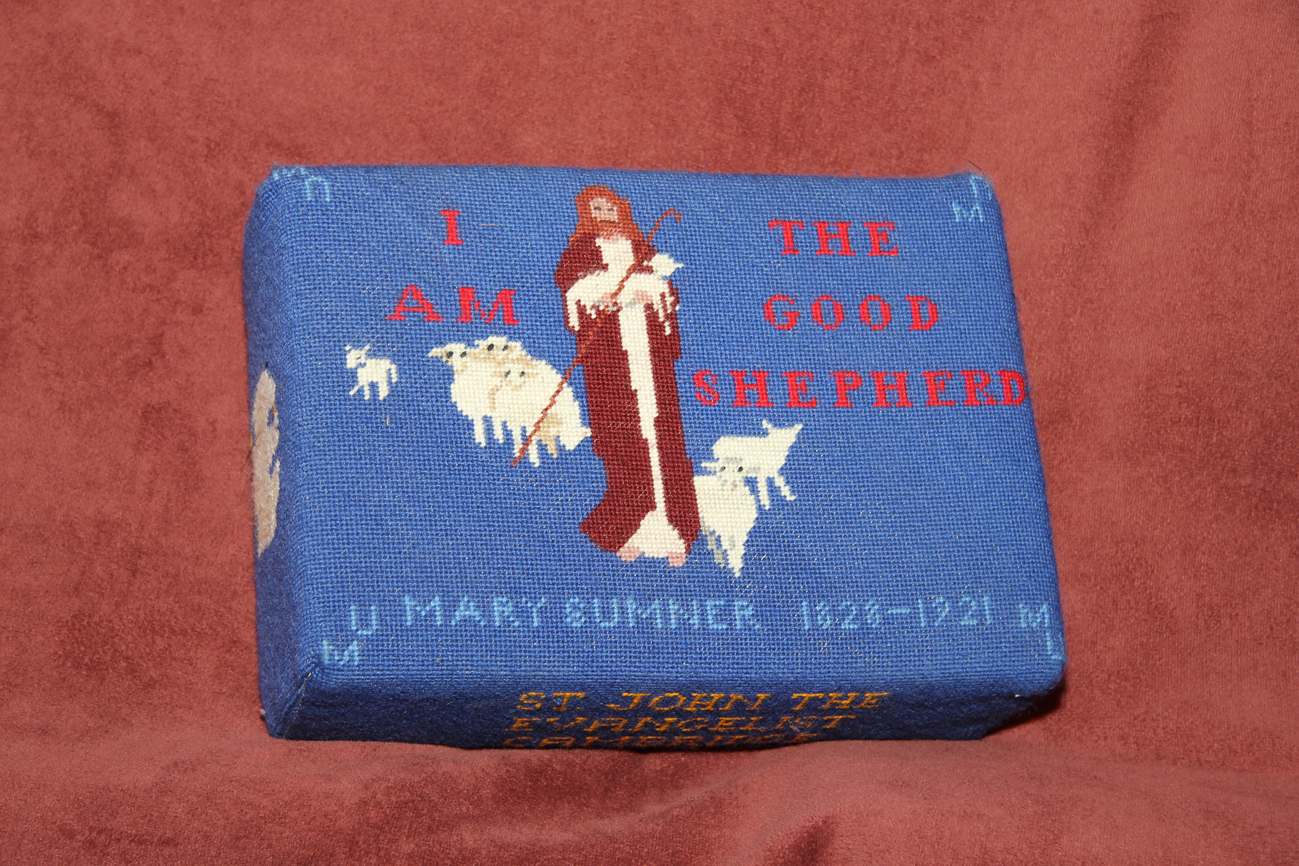 """66. """"I am the Good Shepherd"""" dedicated to the Mother's Union in memory of Mary Sumner – worked by Beryl Johnson. Designed by Pamela Barrell from an image found by Marie Burrows."""
