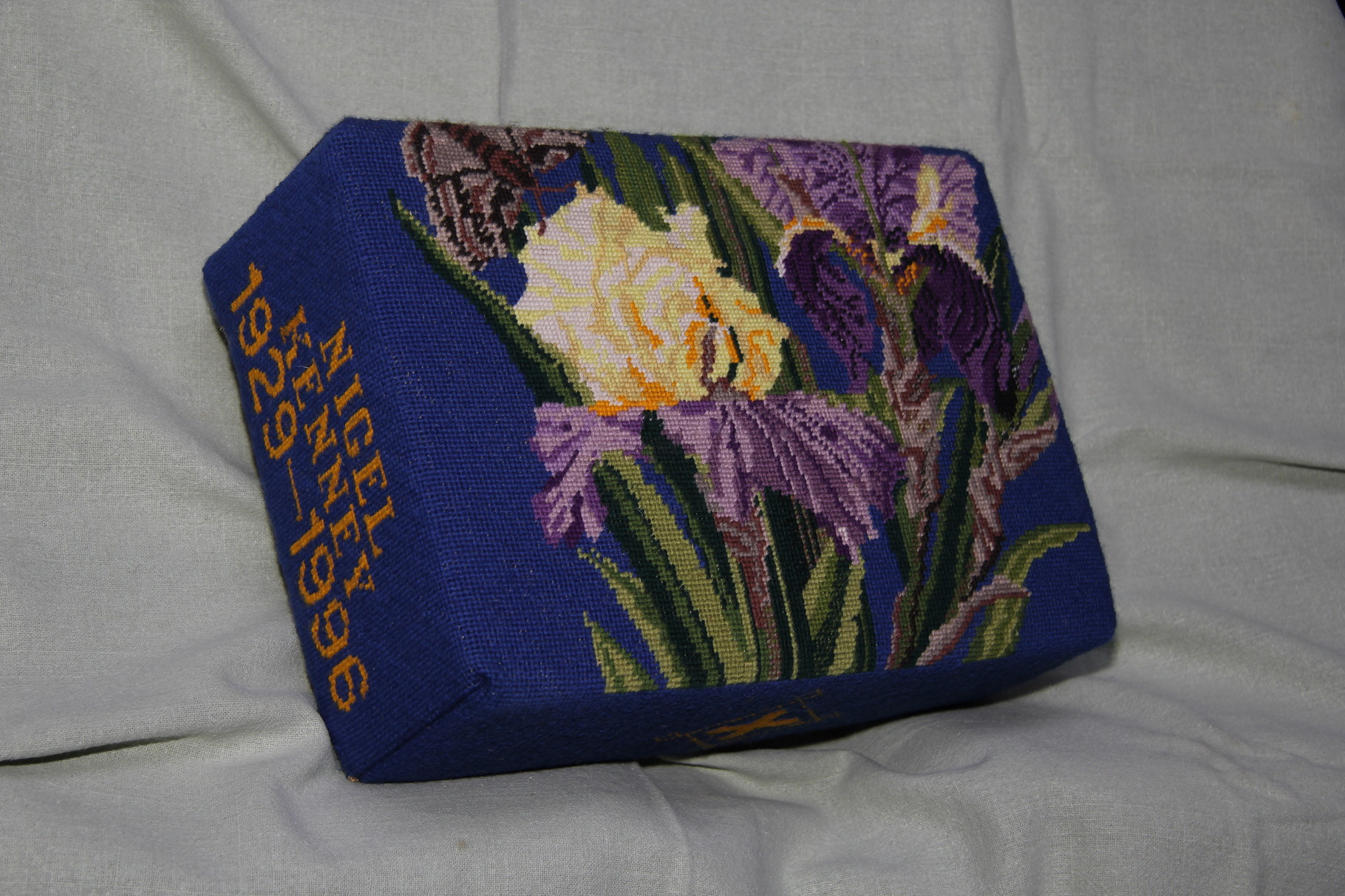 """73.  """"Irises"""" – in memory of Nigel Kenney (1929-1996) donated and worked by his wife Gail Kenney"""