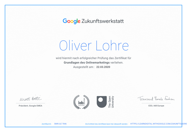 Weiterbildung-Zertifikat bei der Google Zukunftwerkstatt