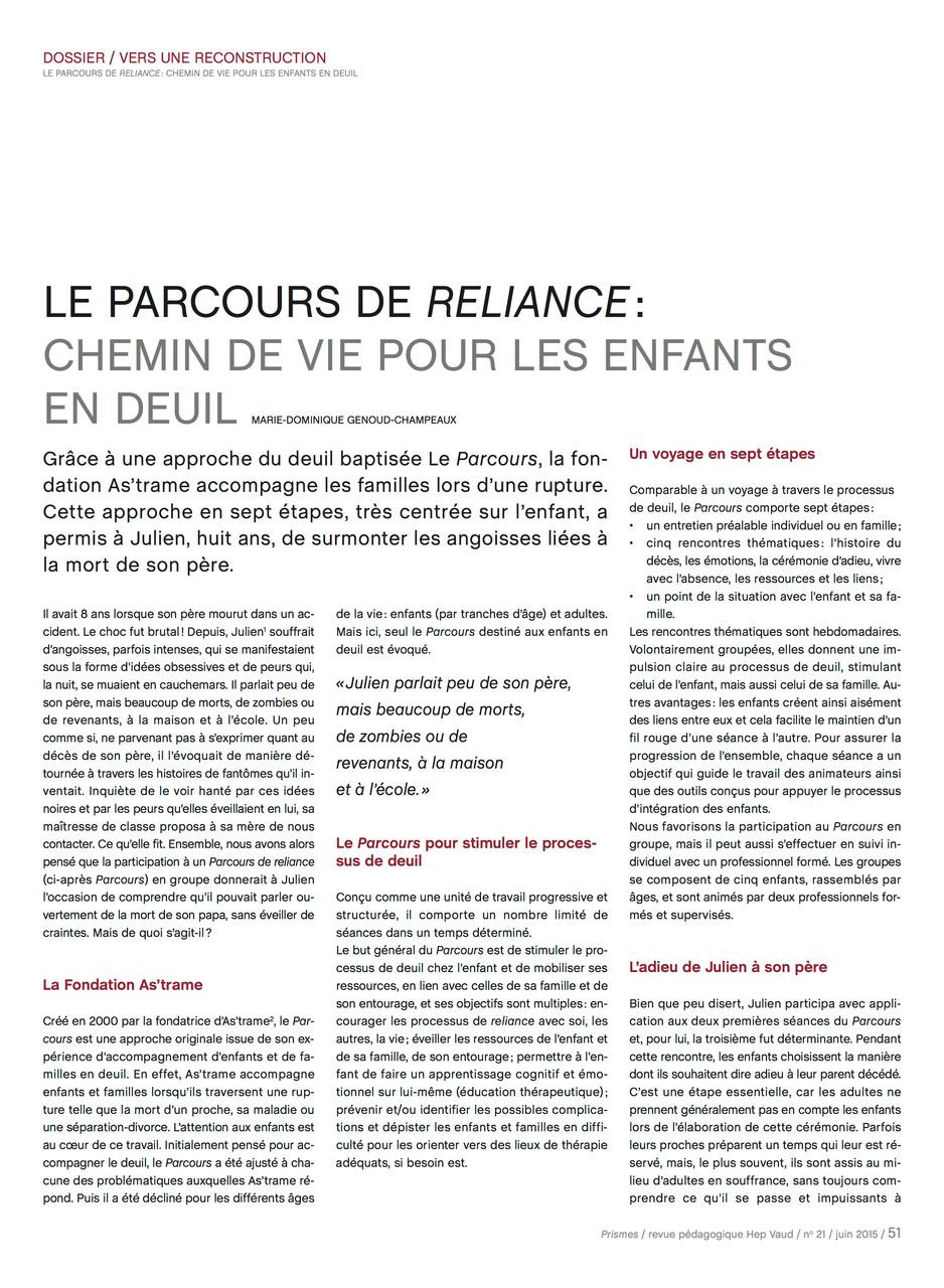 Juin 2015 Revue Prismes HEP Vaud n°21 page 51