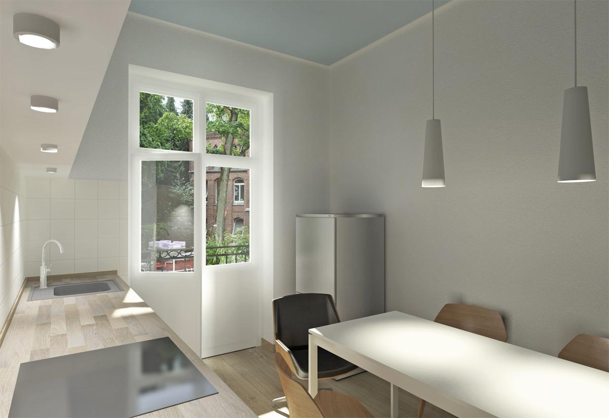 Entwurf eines Einbaumöbels in einer Wohnküche - vorher