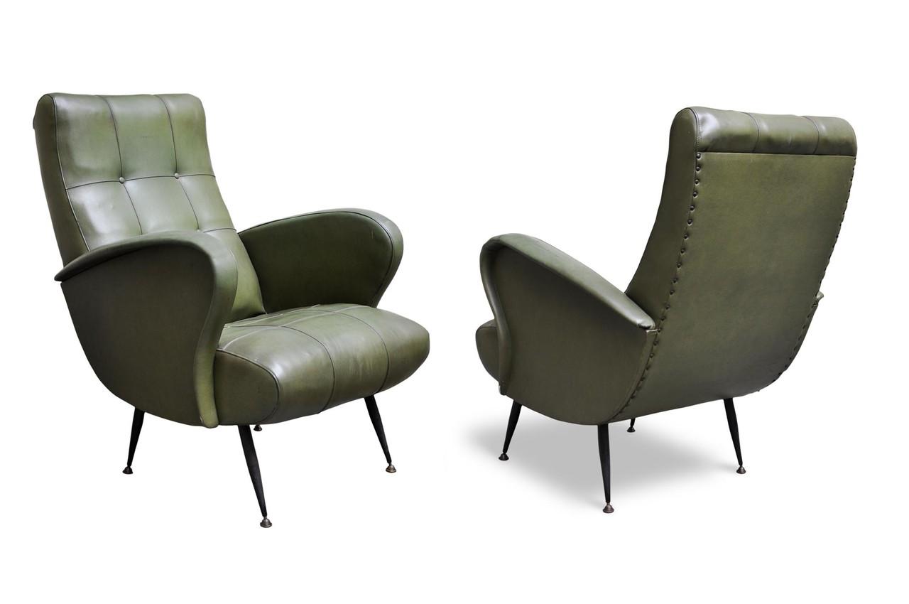 Poltrone anni 39 60 in sky e piedi in ottone italian vintage sofa - Poltrone vintage design ...