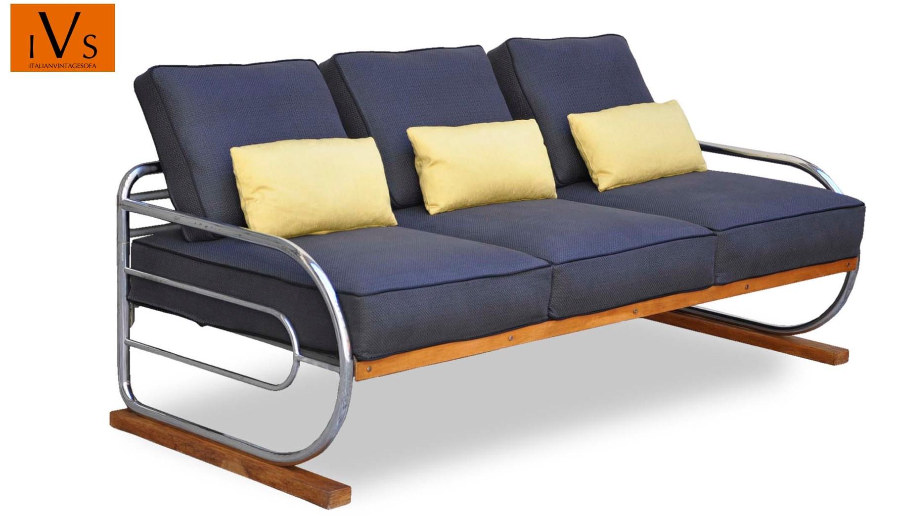 Divano razionalista bauhaus vintage cromato deco italian vintage sofa - Divano anni 30 ...