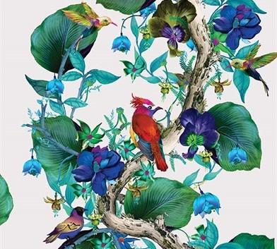 Carta da parati a fiori e pappagalli Osborne abd Little rain forest