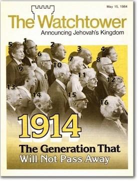 """""""Сторожевая Башня"""" за 15 мая 1984 года сообщает об исходе поколения 1914 года"""