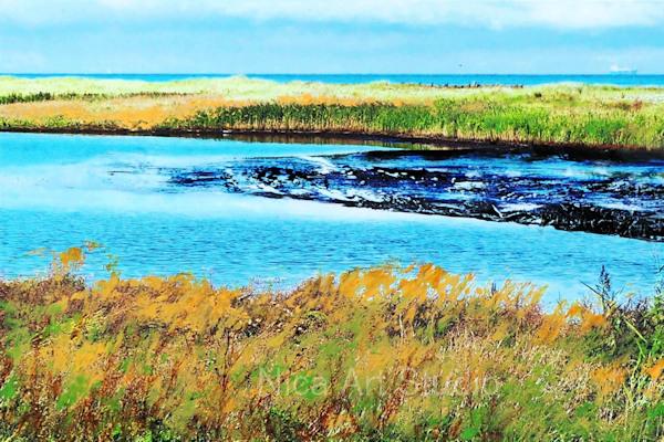 Küstenlinie mit Wiesen, 2019, 30 x 20 cm, Fotografie mit Ölfarbe