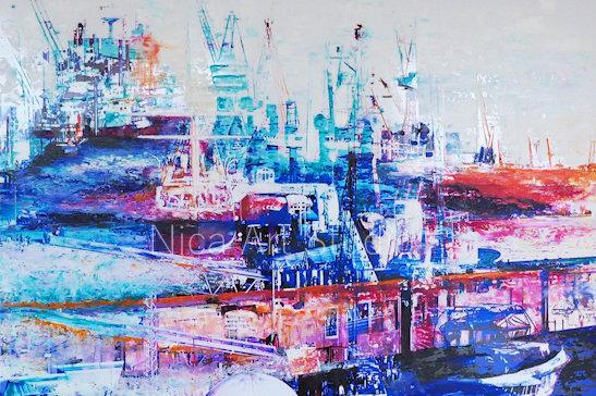 Große Hafen-Szenerie, 2018, 3 : 2 Format, Druck
