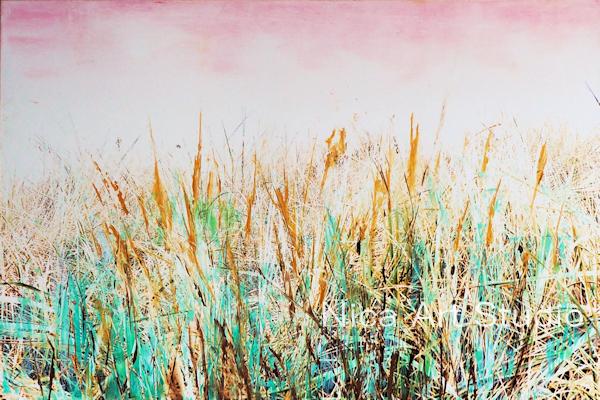 Gras, 2018, 30 x 20 cm, Fotografie mit Ölfarbe, in der Galerie KuRa Hamburg