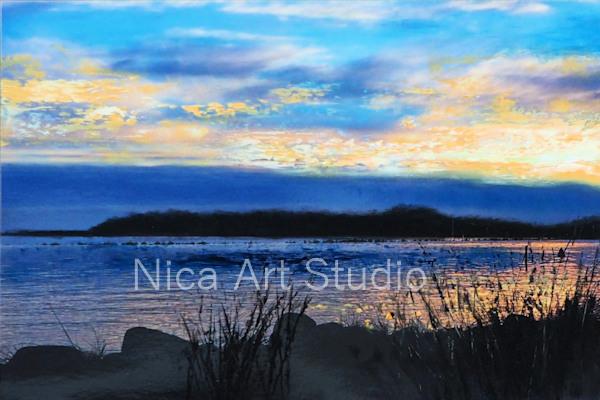 Die Küste abends, 2019, 30 x 20 cm, Fotografie mit Ölfarbe, in der Galerie KuRa Hamburg