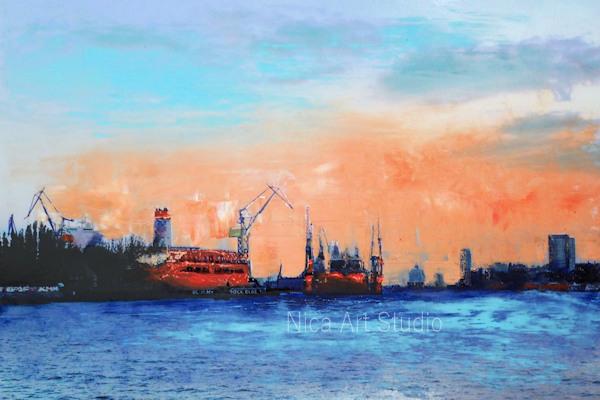 Die Schiffe verschwinden, 2019, 30 x 20 cm, Fotografie mit Ölfarbe, in der Galerie KuRa Hamburg