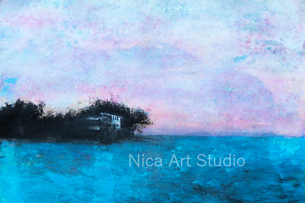 Haus der Bucht, 2019, 30 x 21 cm, Fluid Painting auf Papier mit Transfer und Acrylfarbe