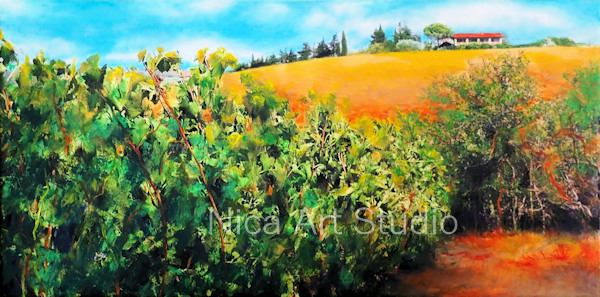 Tuscany vineyards. 2019, 80 x 40 cm, photo print with acrylic painting on canvas